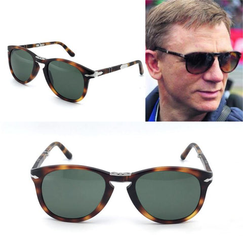 PERSOL 714 Folding Sunglasses Tortoise Frame Green Lens with Case Steve Mcqueen