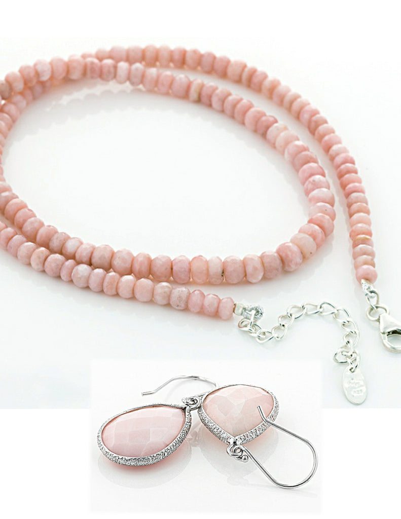 DESIGNER Pink Peruvian Opal Sterling Necklace and 11ctw Earrings Set JTV