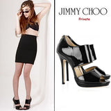 JIMMY CHOO 37.5 Bootie Private Black Patent Leather Double-Banded Boots 7