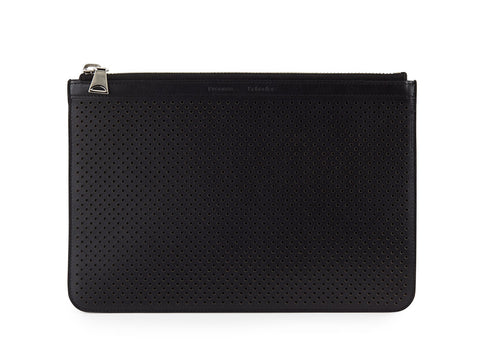 PROENZA SCHOULER Perforated Black Leather Medium Zip Pouch Bag NWT