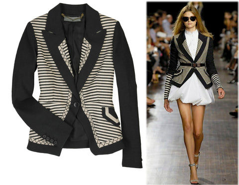 PROENZA SCHOULER Striped Black Linen Jacket 2