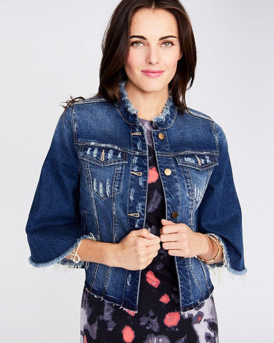 RACHEL ROY Cropped Bell Sleeve Fringed Denim Jacket S BRAND NEW