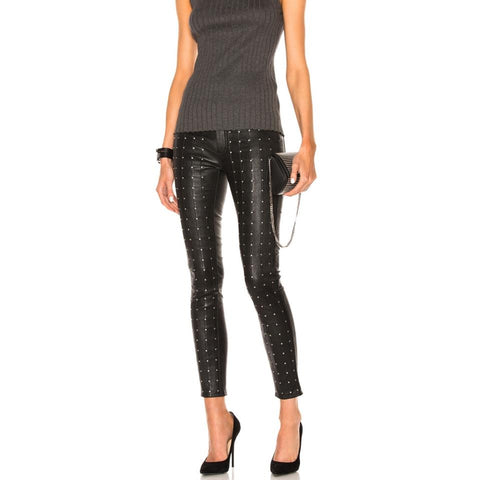 RAG & BONE Hyde Studded Black Stretch Leather Skinny Pants Jeans 26 NWT
