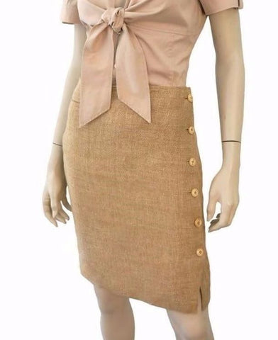 RALPH LAUREN BLUE LABEL Toast Beige Linen Side Button Penci Skirtl 4