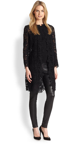 RALPH LAUREN BLACK LABEL Thora Black Lace Open Front Duster Jacket 10 TAGS $1095