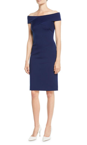 RALPH LAUREN Austine Off the Shoulder Navy Double Knit Sheath Dress 8