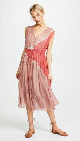 RAQUEL ALLEGRA Pink Sands Tie Dye Silk Drawstring Desert Dress 1 S NEW WITH TAGS