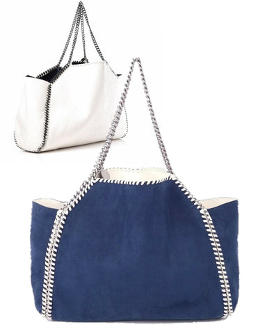 STELLA McCARTNEY Falabella Navy White Shaggy Deer Faux Leather Reversible Tote