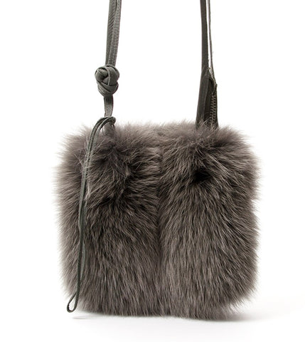 RICK OWENS Gray Mink Fur Crossbody Shoulder Bag NEW