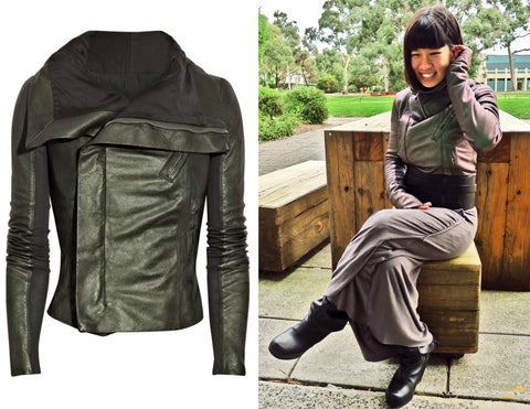 RICK OWENS Metallic Scarab Green Leather Biker Jacket 42 US 6