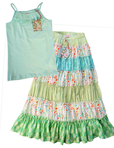 ROOM SEVEN Girls 10-12 Blue Jersey Tank and Multi Patchwork Cotton Maxi Skirt NW