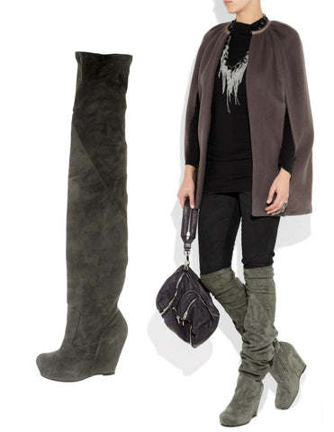 RICK OWENS 37 Anthracite Gray Suede Over The Knee Wedge Boots 6.5