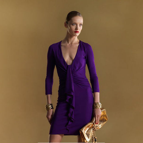 GUCCI Royal Purple Stretch Jersey Ruffle Dress M NEW