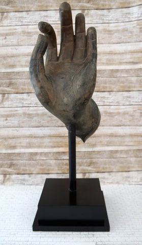 Thai Bronze Mudra Hand Sculpture, 24""
