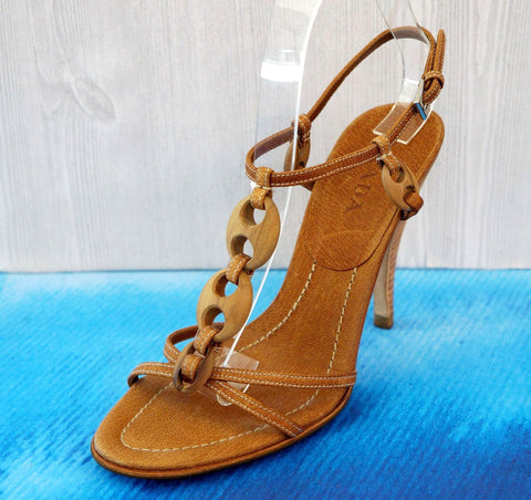 PRADA 36.5 Strappy Camel Leather Wood Link Ankle Strap Sandals Heels 6.5