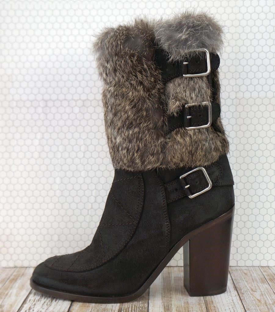 LAURENCE DACADE 37.5 Merli Brown Suede Fur Trim Ankle Boots US 7