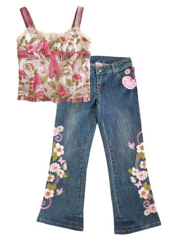 LIPSTIK GIRLS Sz 8 Floral Cotton Top and Jeans Outfit NEW WITH TAGS