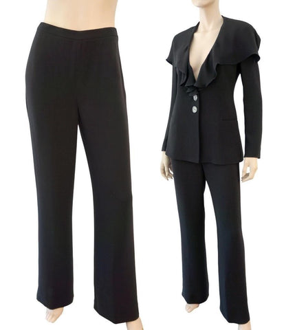 EMANUEL UNGARO High Waist Black Silk Dress Pants IT 38 US 4