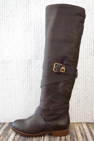 CHLOE 36 Prince Brown Leather Over-the-Knee Flat Heel Boots 5.5
