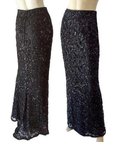 BADGLEY MISCHKA Black Skirt Beaded Embellished Lace Full Length Maxi 4 NEW