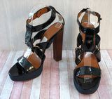 LANVIN 40 Black Patent Leather Gladiator Platforms Heels US 9.5 NEW