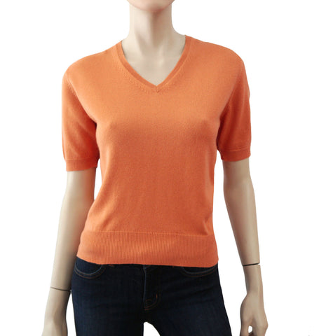 YVES SAINT LAURENT 38 NWOT Women's Cashmere Peach Orange V-Neck Sweater US 4
