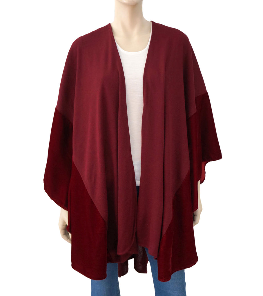 A. BROD Wine Red Velvet Knit Oversized Shawl Scarf 66x48 New With Tags