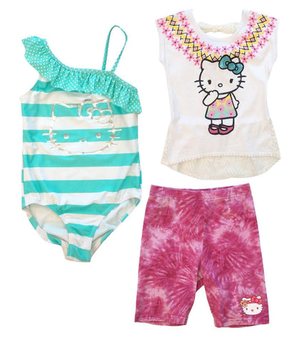 HELLO KITTY Girls Size 7 8 Bathing Suit, Cutout Lace Top, Pink Shorts NEW