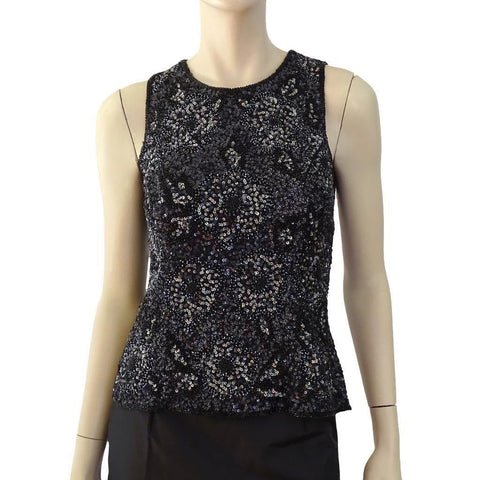 DESIGNER Black Bead Iridescent Sequin Silk Top Sleeveless Floral Pattern S