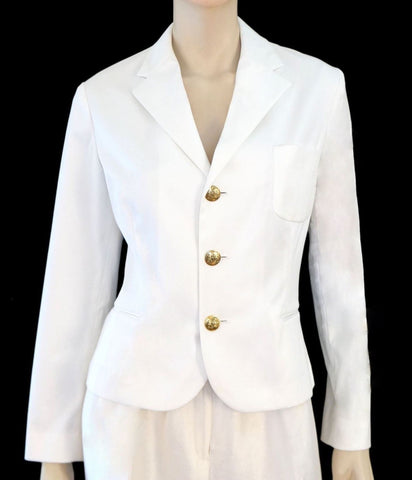 RALPH LAUREN PURPLE LABEL White Stretch Cotton Cropped Blazer Jacket 12 NEW