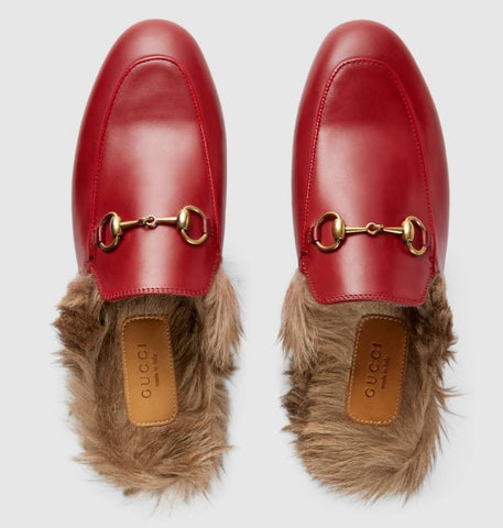 GUCCI Princeton Loafer Fur Slippers, 38/8-7.5