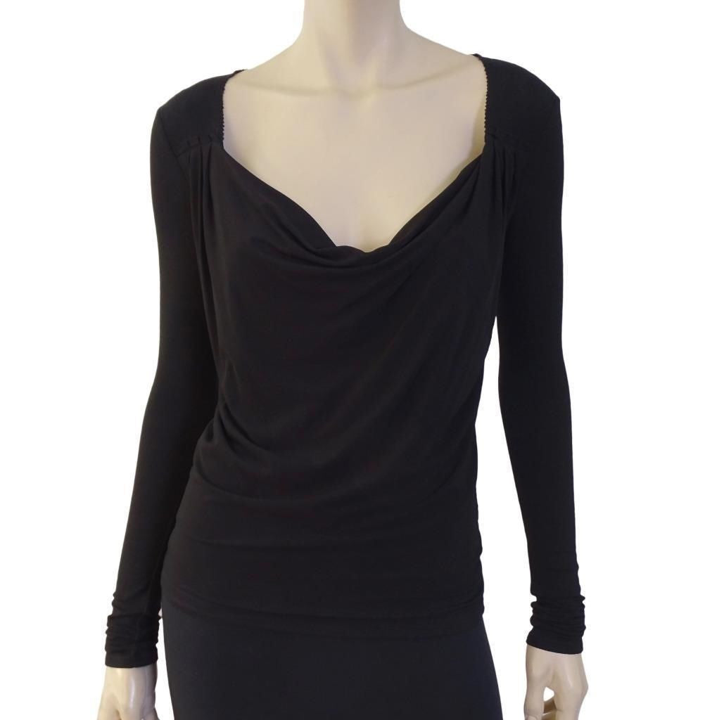 DONNA KARAN COLLECTION Draped Jersey Top, Small