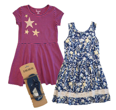 TUCKER + TATE Floral Dress, CAT & JACK Striped Dress 7/8, IKKS Flip Flops 31/32
