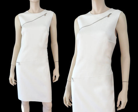 MICHAEL KORS COLLECTION Ivory White Stretch Silk Cotton Sheath Dress 6