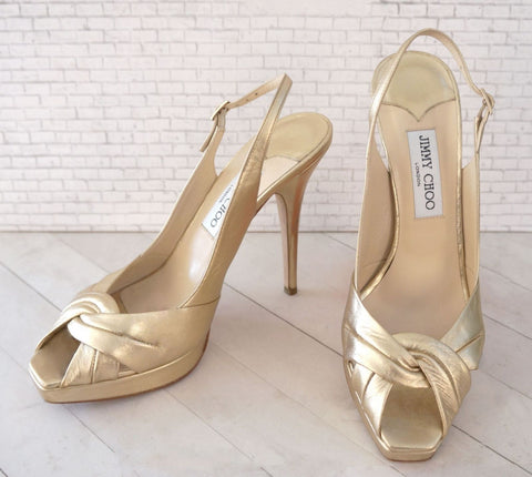 JIMMY CHOO 40 Gold Leather Poem Slingbacks Open Toe Platform Heels 9.5