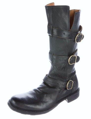 FIORENTINI + BAKER 35 Eternity Black Leather 3-Strap Knee Boots 6
