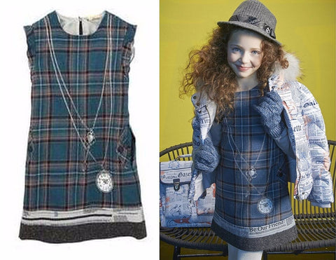 JOHN GALLIANO KIDS Girl's Sz 10 Blue Gray Tartan Plaid Wool Dress NEW WITH TAGS