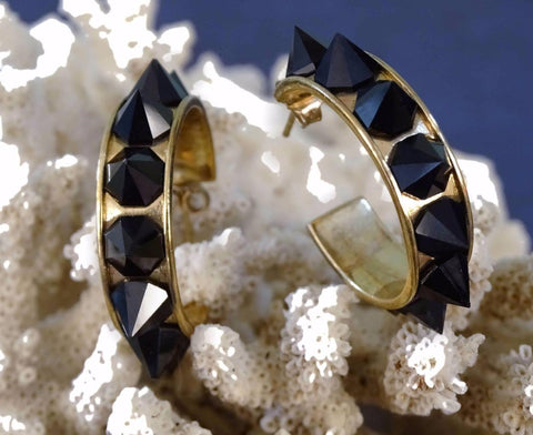 LANDVER Hoops 18K Yellow Gold Plated Sterling Silver Onyx Earrings
