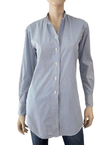 RALPH LAUREN COLLECTION Women's Striped Blue White Cotton Shirt Blouse 2