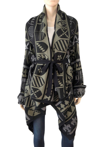 STELLA McCARTNEY Knit Cape IT38 Wool Cashmere Black Green Printed Oversize Coat