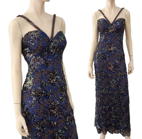 BOB MACKIE Blue Bead Sequin Lace Corset Formal Gown Dress 2