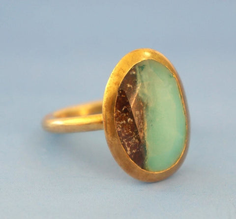 Yellow Gold Plated Sterling Silver Chrysoprase Artisan Crafted Ring sz 7