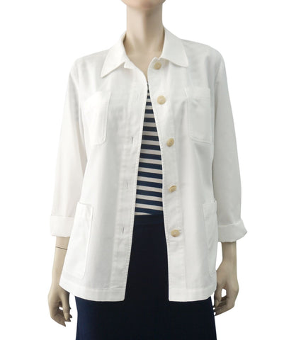 MICHAEL KORS COLLECTION White Cotton Denim Cargo Safari Jacket L