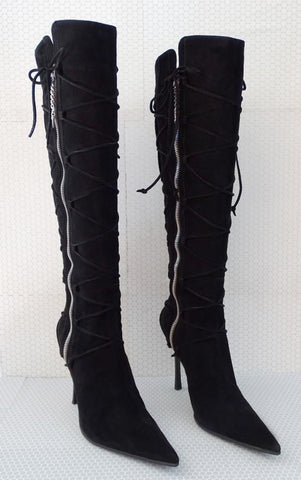 CESARE PACIOTTI 39.5 Black Suede Stiletto Knee High Boots 9