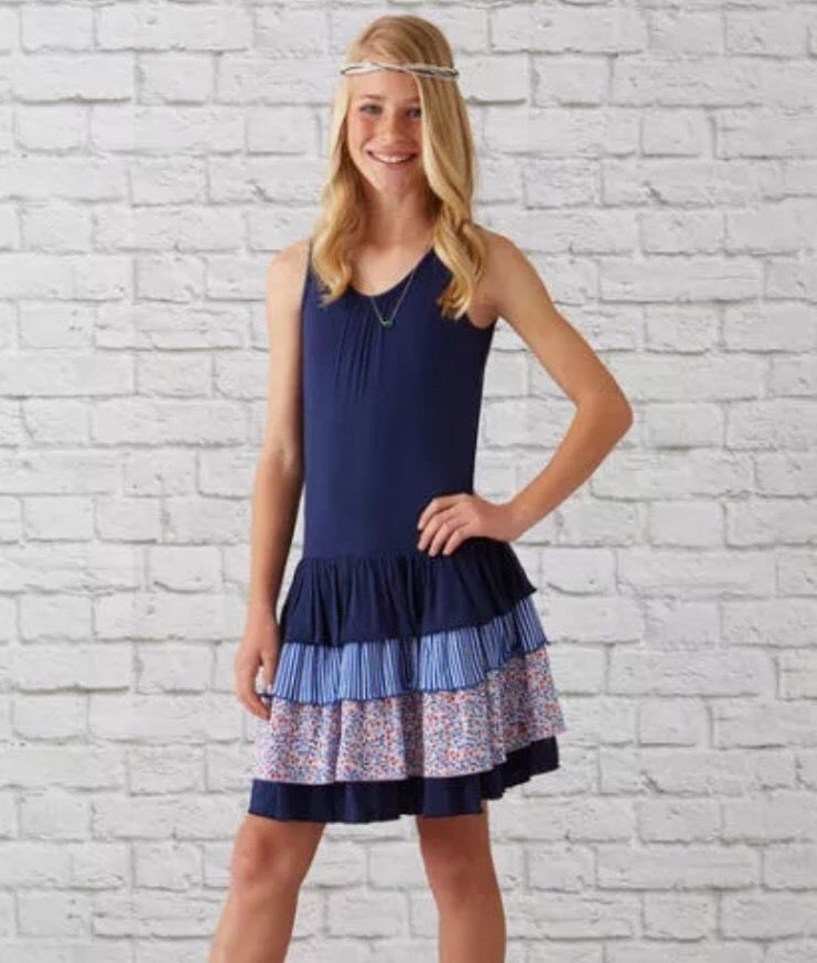 435 MATILDA JANE 10 Hello Lovely 4th of July Marina Ruffle Tank Dress NEW