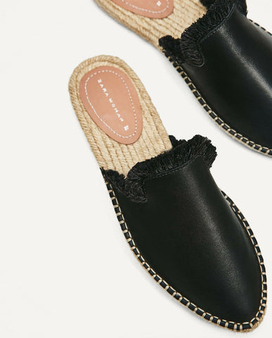 ZARA 40 Black Leather Slip on Espadrille Flats Sandals 9 NEW WITH TAGS