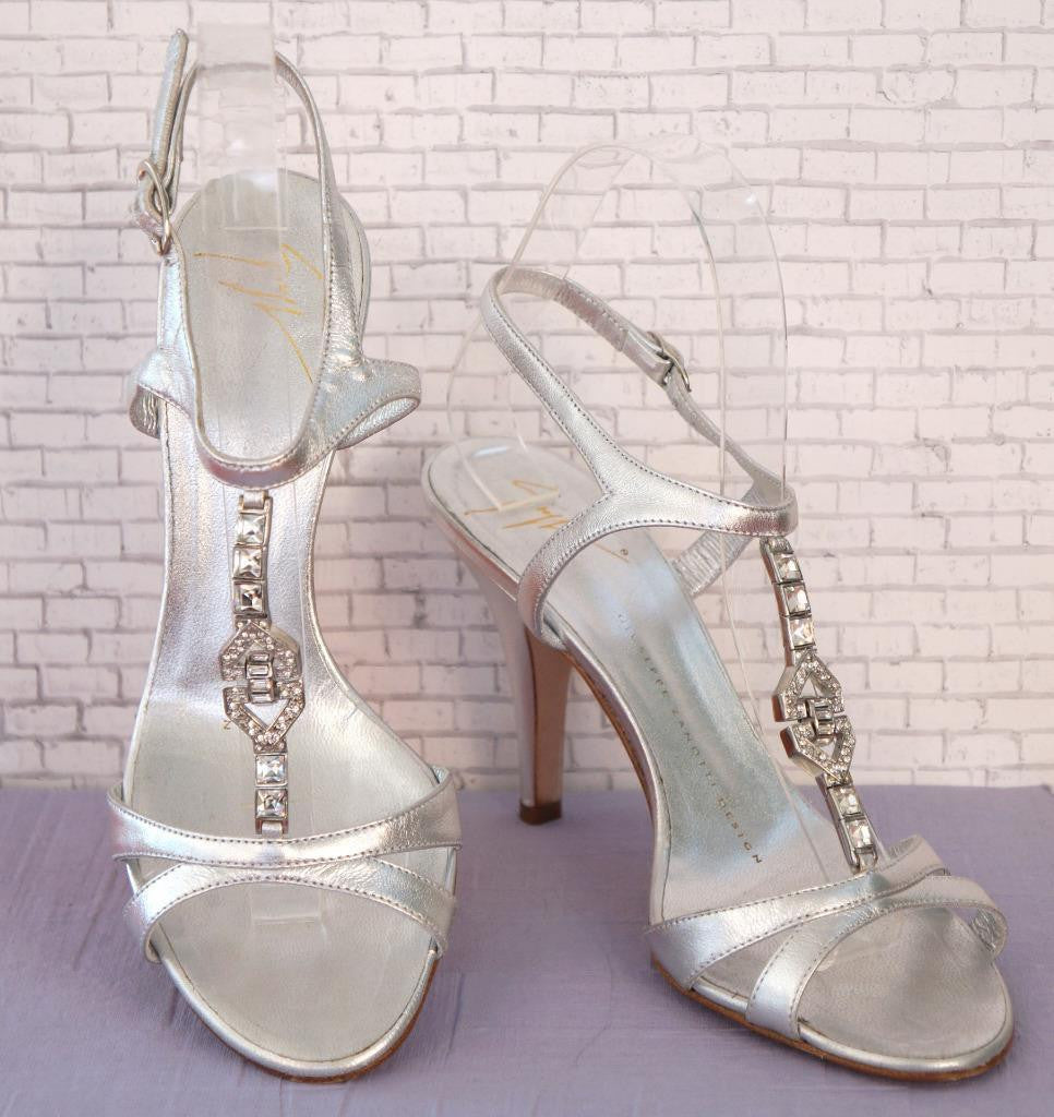 GIUSEPPE ZANOTTI 6.5 Embellished Metallic Silver Leather T-Strap Strappy Heels
