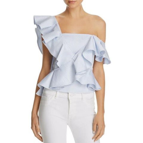 PETERSYN Eliza Blue White Cropped Striped Cotton Ruffle One Shoulder Top S