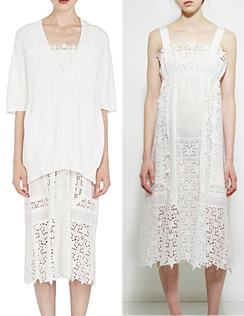 SACAI Layered White Cotton Eyelet Sweater Dress Set Size 2