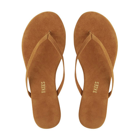 TKEES 10 Lily Caramel Brown Suede Flip Flops BRAND NEW